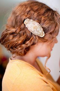 wedding updo with antique barette