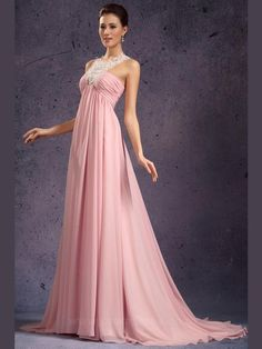 Halter Sleeveless Sweep/Brush Train Pink Evening Dresses ED0374