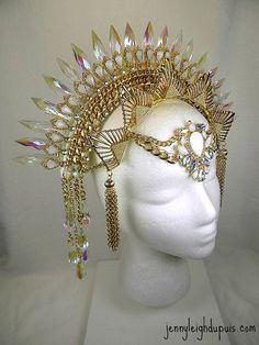 Headdress Prism Sun Ray Tribal Fusion Burlesque Headpiece on Etsy Tribal Fusion, Fascinator, Fantasy Costumes, Fairy Costumes, Circlet, Tiaras And Crowns, Headdress, Egyptian Headpiece, Headgear