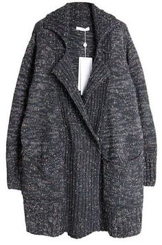 Grey Lapel Long Sleeve Pockets Cardigan Sweater pictures