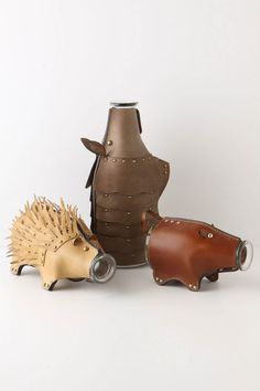 Leather crafted animal carafes. Nothing better than party animals who bring the drinks to a rocking party!