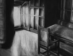 """Clara Lieu, Student Artwork, Wellesley College, Drawing I course, Interior Space assignment, charcoal on paper, 24"""" x 36"""""""