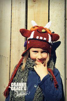 Handgestrickte Monster Hut  Grüffelo Hut von GrannyGracesknitting, £25.00