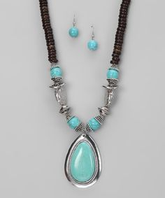 Another great find on #zulily! Turquoise & Coconut Beaded Pendant Necklace & Drop Earrings by Gabrielle Jewelry #zulilyfinds