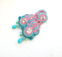 Long Chandelier Clip On Earrings - Turquoise and Pink Earrings - Soutache Earrings - Long Turquoise Clip On Soutache Earrings