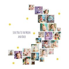 Photo Collage Gift, Photo Collage Template, Photo Collages, Shape Collage, Wall Collage, Personalized Anniversary Gifts, Moon Photos, Moon Shapes, Photo Heart