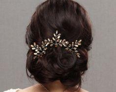 Rhinestone Hair Comb Crystal Leaf Hair Pieces Bridal Hair