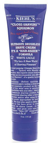 "Kiehl's Men's Skincare - Close-Shavers Squadron Ultimate Brushless Shave Cream - White Eagle 150ml/5oz by Kiehl's. $15.20. Kiehls most popular Ultimate Men's Shaving Cream ... Spiked with Menthol and Camphor, this superb cream formulation provides an incomparable skin effect for ""Close Shavers,""."