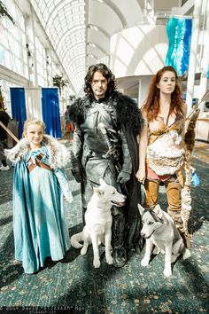 Arya Stark, Jon Snow, Ghost, Ygritte, and Nymeria #LBCC2014 #DTJAAAAM