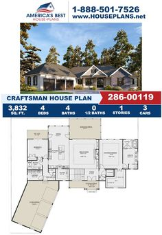 Check out the curb appeal on this beautiful Craftsman home! Plan 286-00119 is featured by 3,832 sq. ft., 4 bedrooms, 4 bathrooms, an elevator feature, a screened porch, a mud room, and an office area. Visit our weboage for more detials about this Craftsman design.