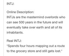 INTJ online description vs real life