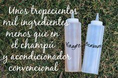 (Ok) Champu = 1 Cda Bicarbonato + 240 ml agua. (pelo graso 2 cdas) Balsamo= 1 Cda Vinagre de manzana + 60ml agua.  VInagre= Anticasta-Antipiojos-Balsamo (lo uso hace años, funciona de maravillas) buenissimo solo cuesta secar el pelo un poco.