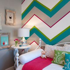 chevron wall stripes! Love this, Especially when you get done painting all the rooms in your house, perfect for leftover colored paint! Good paint is not cheep  You can make a big impact with hallways!