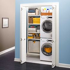 3 new ways to make the most of a little-used closet, including this well-organized stacked washer/dryer laundry room.