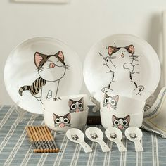 Set includes:two dish+four bowl+four chopsticks+four spoon set.Tips: *Please double check above size and consider your measu Cute cartoob cat bowl/chopsticks/spoon set Crazy Cat Lady, Crazy Cats, Cat Lover Gifts, Cat Lovers, Chi's Sweet Home, Cat Decor, Cat Accessories, Cat Mug, Chopsticks