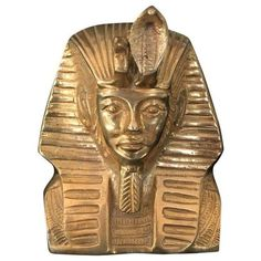 Vintage Solid Brass Egyptian Bust of King Tut ($195) ❤ liked on Polyvore featuring decorative objects