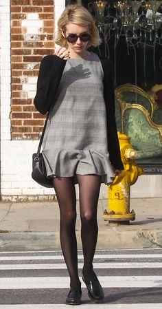 d6fa38baf8f Emma Roberts wears a plaid mini dress over a long-sleeve tee