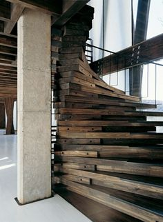 Gorgeous staircase! Dishfunctional Designs: Home Decor & Art Made From Old Salvaged Reclaimed Wood #woodisgood #wood