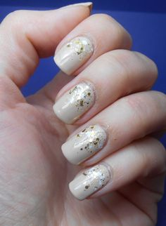 nude, gold, white nails