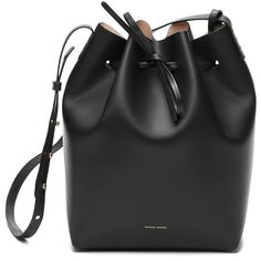 Mansur Gavriel Leather Bucket Bag ($595) ❤ liked on Polyvore featuring bags, handbags, shoulder bags, purses, bucket bags, kirna zabete, leather purses, drawstring shoulder bag, leather bucket bag and leather drawstring handbags