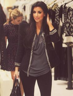 I love this jacket and blouse! For work, I'd wear black pants instead of leggings. :)