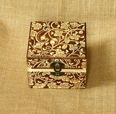Beautiful floral wooden pyrography box richly decorated with