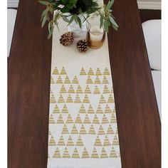 Modern Triangle Holiday Linen Table Runner Multi By Celineandkate