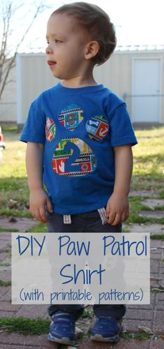 This DIY Paw Patrol shirt is easy to make with a few materials. It& perfect for a birthday boy or girl who loves the Paw Patrol team! Diy Birthday Shirt, Baby Boy Birthday, Boy Birthday Parties, 2nd Birthday, Birthday Ideas, Puppy Birthday, Kid Parties, Birthday Board, Birthday Cakes