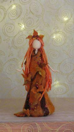 Items similar to Needle felted Waldorf inspired Autumn Fall Fairy Art doll Nature table decoration on Etsy Needle Felted Animals, Needle Felting, Hedgehog Craft, Felt Angel, Autumn Fairy, Original Design, Felt Fairy, Clothespin Dolls, Wool Art