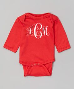 Another great find on #zulily! Red Monogram Bodysuit - Infant by Initial Request #zulilyfinds