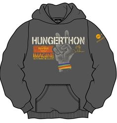 50/50 cotton blend charcoal grey hooded sweatshirt in sizes M-XXL. Inspired by John Lennon's song Imagine, the front graphic features a peace hand with John Lennon's signature and Hard Rock logo. $80   Purchasing this Limited edition product will help fight child hunger and poverty worldwide through Grassroots Solutions that secure basic rights to food, water and land.  Find out more at http://imaginepeace.com/archives/20011