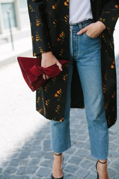 sneakers and pearls, street style, cropped jeans, printed coat, burgundy clutch, trending now Clothing, Shoes & Jewelry - Women - women's jeans - http://amzn.to/2jzIjoE