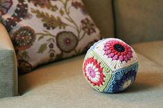 KendraKat's Crochet Pillow Ball based on Sunburst Granny Squares, a free pattern by Priscilla Hewitt