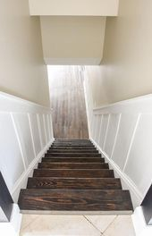 Do It Yourself: How to update and transform a basic basement staircase with boar keller Garage Stairs, Basement Staircase, Basement Floor Plans, Modern Basement, Basement House, Basement Walls, Basement Bedrooms, Basement Flooring, Basement Ideas