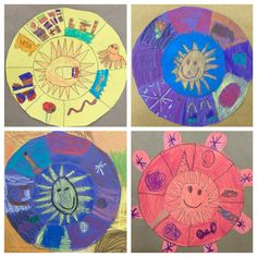 1st grade learned about the aztec sun stone that was created long ago as a calendar. We looked at the stone and talked about pictograms (the symbols on the stone). For the project we made our own sun with pictograms representing how we would like to spend our days. First Grade, Grade 1, Projects For Kids, Art Projects, Sun Stone, Hispanic Heritage Month, Mexican Art, Pictogram, Social Studies