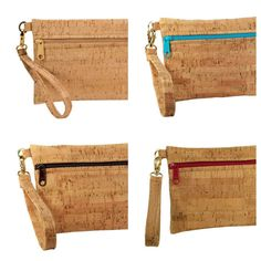 This cork wristlet is the perfect accessory! Handmade from eco-friendly cork. Cork fabric Organic (and fair trade!) cotton lining Zipper closure Removable wristlet strap Gold hardware Small: 7.5W x 5H Large: 10W x 5.5H   WHAT IS CORK FABRIC? Cork shavings removed from the bark of the cork oak tree are transformed into ultra thin sheets to produce cork fabric. Cork is a natural and sustainable material harvested from cork oak trees every nine years without harming or killing the trees. The…