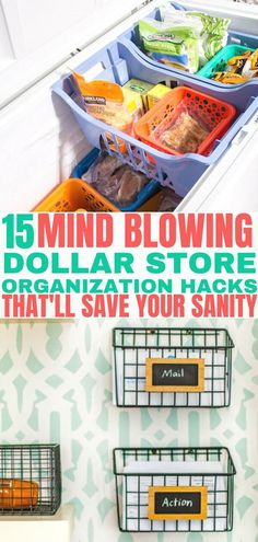 15 Mind Blowing Dollar Store Organization Hacks - Balancing Bucks Easy Dollar Tree organization ideas to help you organize everything in your home. Organisation Hacks, Organizing Hacks, Pantry Organization, Bathroom Organization, Kitchen Organizers, Bathroom Hacks, Bathroom Inspo, Organising, Cleaning Hacks
