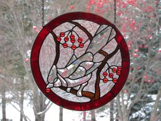 "12"" Deep Red ""Cardinal Eating Berries"" Stained Glass Window Bevel Cluster 