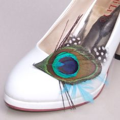 A Pair of VILY Peacock Feather Shoe Clips by vilyfashion on Etsy, $19.60