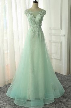 Long Lace Prom Dresses A Line Tulle Evening Party Dress for Graduation Dresses vestidos de baile formatura festa gala jurken