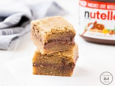 Salted Nutella Blondies uses a chewy blondie recipe with the addition of Nutella dollops and a sprinkle of sea salt on top.