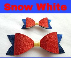 Disney Inspired Snow White hair bows glitter by MommyMakingCrafts