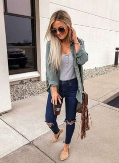 Fashion Tips Winter 52 Cute Spring Outfits for Women 2019 - Artbrid -.Fashion Tips Winter 52 Cute Spring Outfits for Women 2019 - Artbrid - Mode Outfits, Trendy Outfits, Fashion Outfits, Casual Outfits Classy, Casual Summer Outfits With Jeans, 30 Outfits, Body Suit Outfits, Fashion Trends, Cute Spring Outfits
