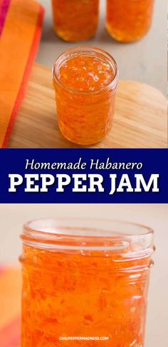 This Pepper jam recipe is made spicy with habanero peppers. It makes a great condiment or food gift. Serve as an appetizer with cream cheese and crackers for a savory balance of sweet and heat. Habanero Recipes, Jam Recipes, Canning Recipes, Spicy Recipes, Pepper Jelly Recipes, Hot Pepper Jelly, Habenero Pepper Jelly Recipe, Hot Jelly Recipe, Marmalade