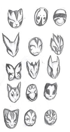 Mask Design - New ideas Mask Drawing, Drawing Base, Anime Drawings Sketches, Anime Sketch, Animal Sketches, Mascara Anime, Drawing Expressions, Masks Art, Art Poses