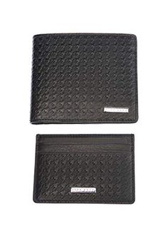 1f987d637f3ac BOSS Houndstooth-Embossed Leather Wallet and Card Holder Gift Set in Black  One Size
