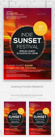 Summer Sunset Flyer Psd Template #design Download: http://graphicriver.net/item/summer-sunset-flyer-psd-template/12292578?ref=ksioks