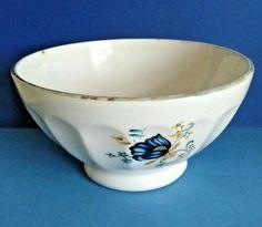 French Vintage Ceramic Cafe au Lait / Coffee Bowl Blue Flower Design    A1114