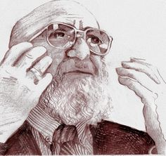 Paulo Freire  I drew this in pencil and reworked it in Photoshop.  I know this sounds strange but drawing these pictures has had quite a profound effect on me. I found that Boal was much softer than I thought! Freire quite the strident intellectual!