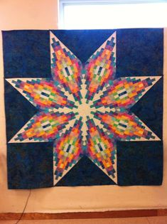 """August 1 - Today's Featured Quilts - 24 Blocks Artist:  Barbara Wolfe: """"Madison Star pattern by Karen Gibbs! love the Bargello and it is not as hard as it looks! now to quilt it!"""""""